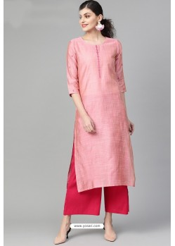 Pink Casual Wear Cambric Cotton Kurti