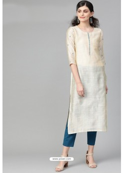 Perfect Cream Casual Wear Cambric Cotton Kurti