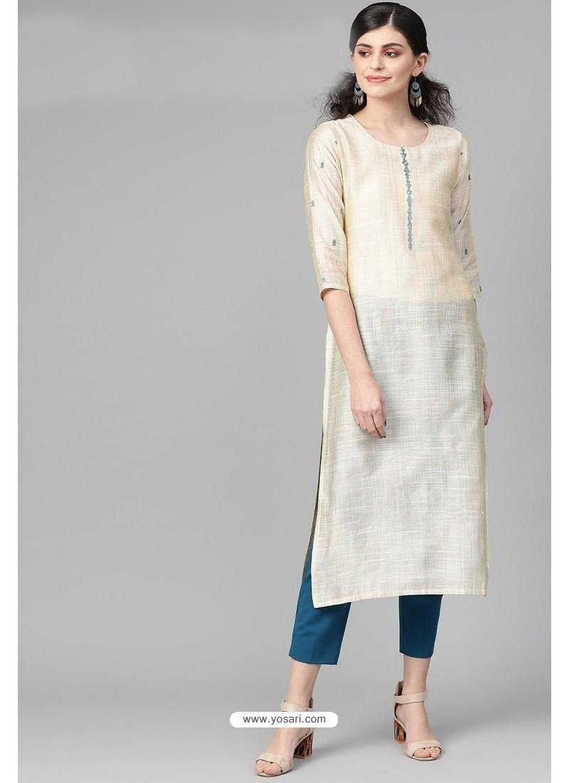 Perfect Cream Casual Wear Cambric Cotton Kurti