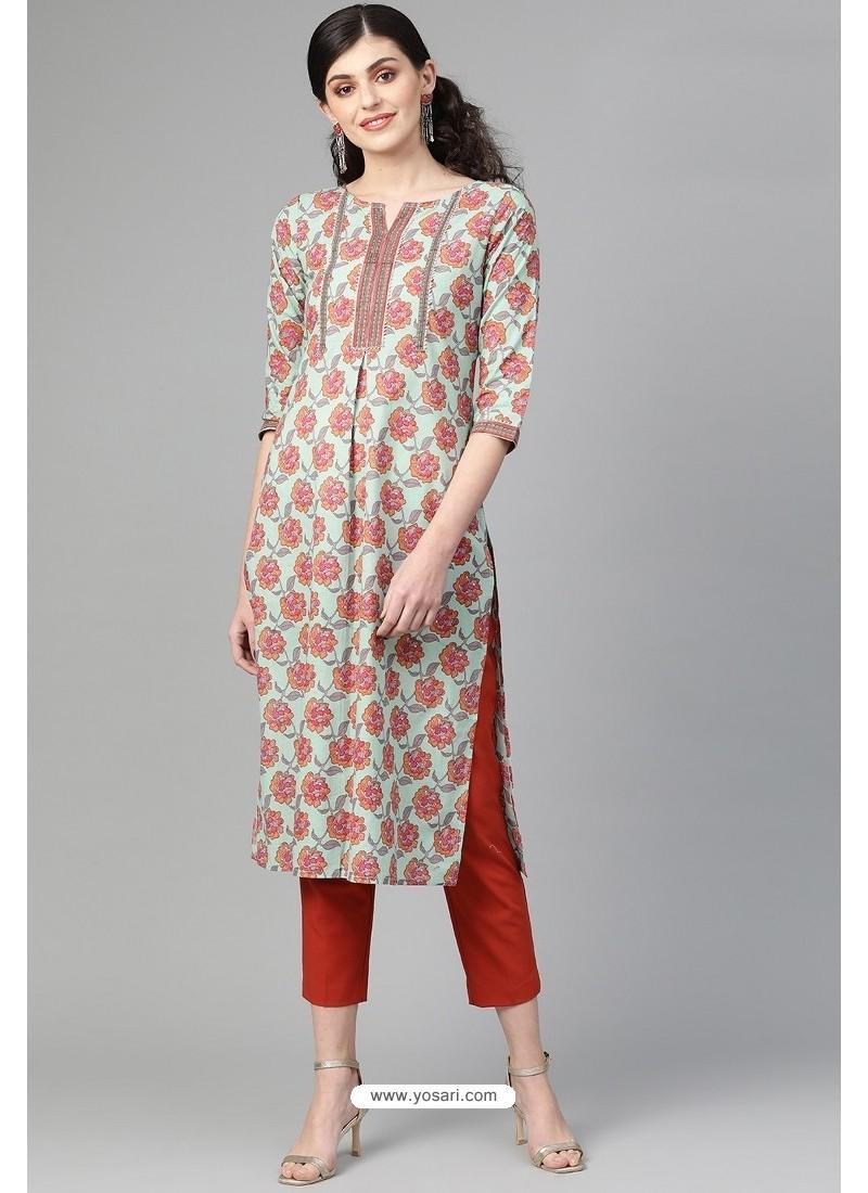 Amazing Multi Colour Casual Wear Cambric Cotton Kurti