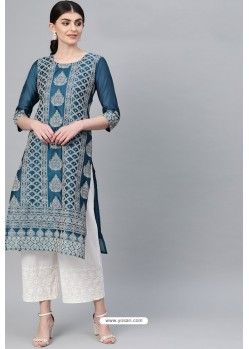 Teal Blue Casual Wear Cambric Cotton Kurti