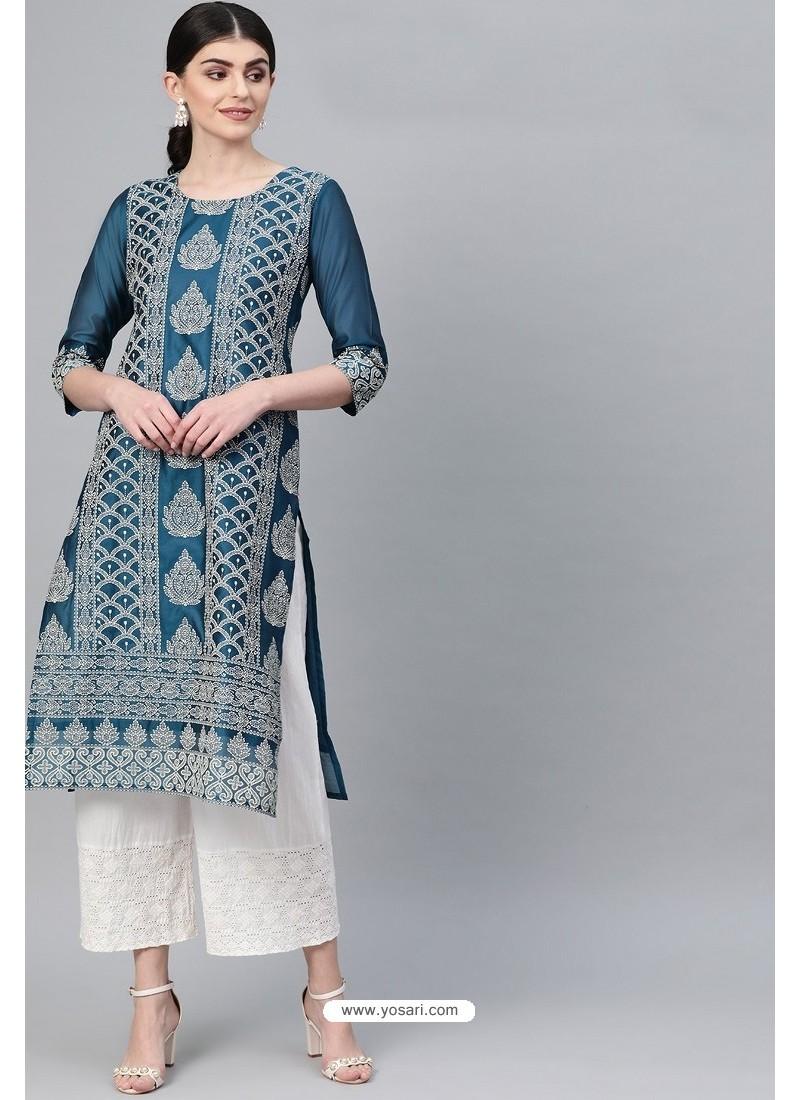 Teal Blue Casual Wear Cambric Cotton Kurti