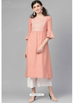 Beautiful Peach Casual Wear Cambric Cotton Kurti