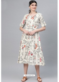 Off White Casual Wear Cambric Cotton Kurti