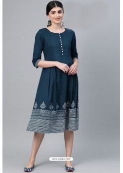 Elegant Teal Blue Casual Wear Cambric Cotton Kurti