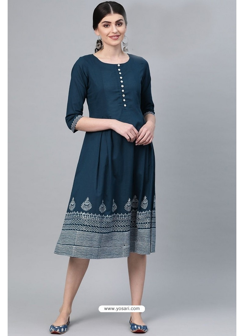 Elegant Teal Blue Casual Wear Cambric Cotton Kurti