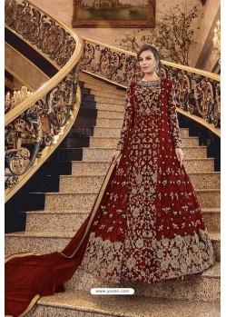 Red Heavy Worked Designer Party Wear Anarkali Suit