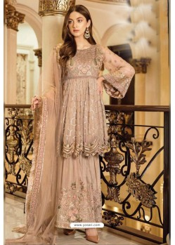 Beige Faux Georgette Heavy Designer Sharara Suit
