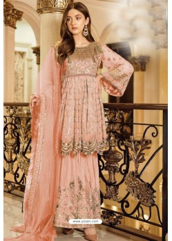 Peach Faux Georgette Heavy Designer Sharara Suit