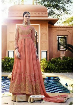 Orange Heavy Designer Royal Georgette Aanarkali Suit