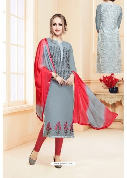 Grey And Red Heavy Cotton Embroidered Churidar Suit
