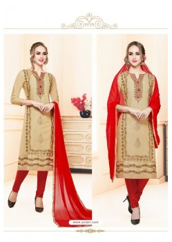Beige And Red Heavy Cotton Embroidered Churidar Suit