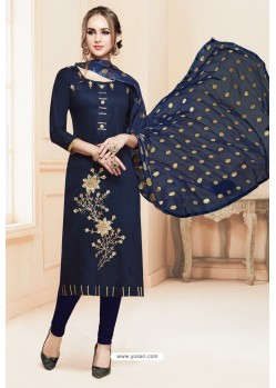 Navy Blue Heavy Cotton Embroidered Churidar Suit