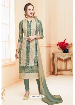 Mehendi Heavy Cotton Embroidered Churidar Suit
