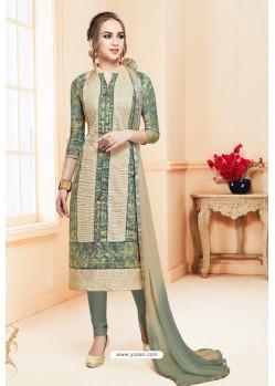 Mehendi Heavy Cotton Embroidered Churidar Suit