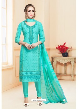 Aqua Mint Heavy Cotton Embroidered Churidar Suit