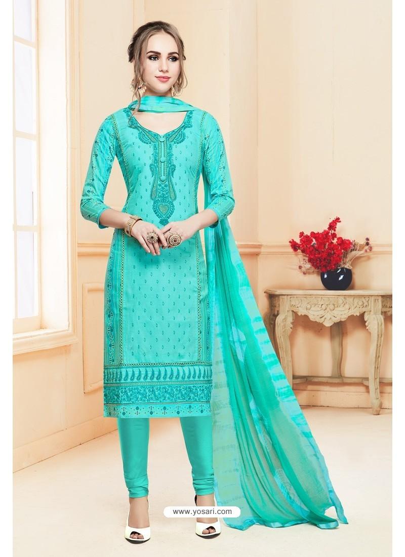 Aqua Mint Heavy Cotton Embroidered Churidar Suit
