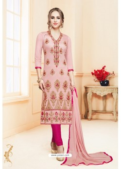 Peach And Pink Heavy Cotton Embroidered Churidar Suit