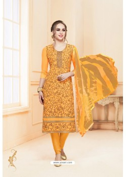 Yellow Heavy Cotton Embroidered Churidar Suit