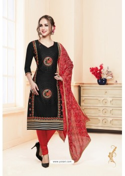 Black And Red Heavy Cotton Embroidered Churidar Suit