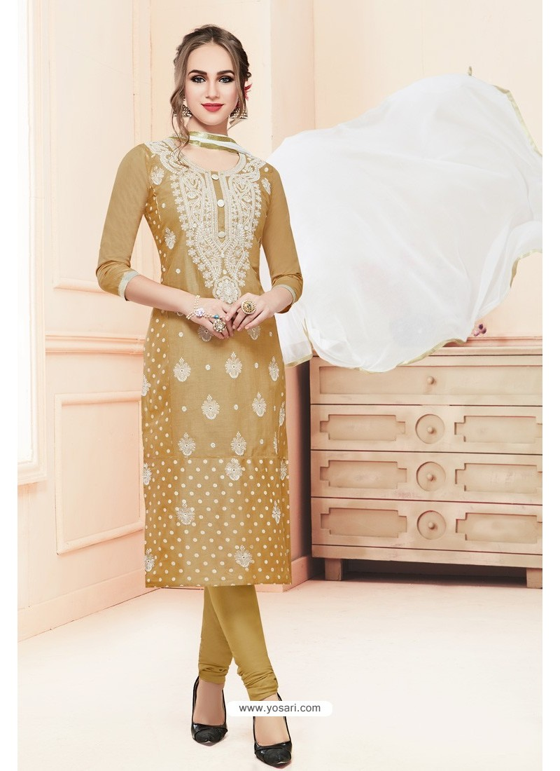 Olive Green Heavy Cotton Embroidered Churidar Suit