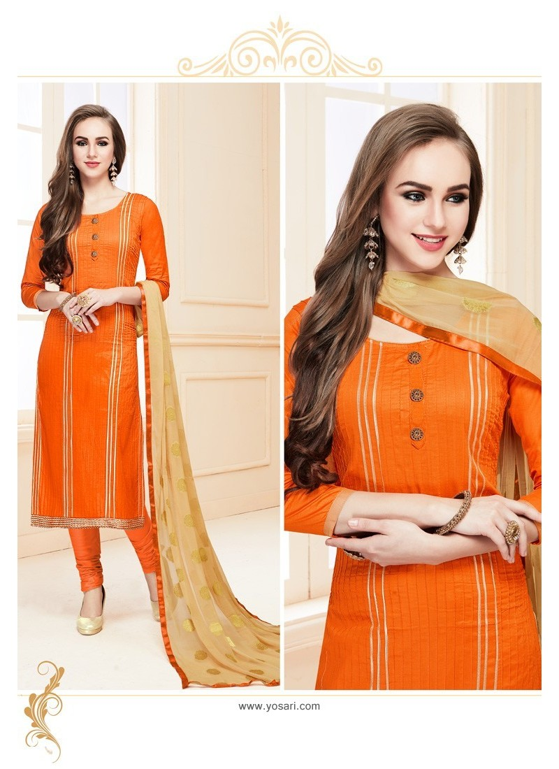 Orange Heavy Cotton Embroidered Churidar Suit