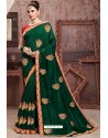 Dark Green Soft Art Silk Part Wear Saree