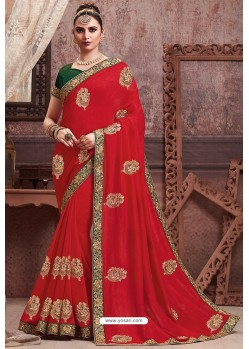 Red Soft Art Silk Part Wear Saree