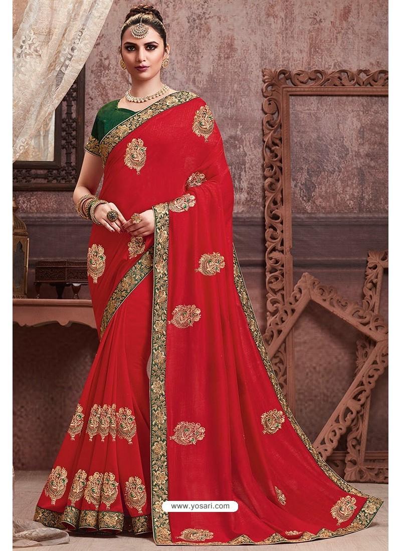 Red Soft Art Silk Part Wear Saree