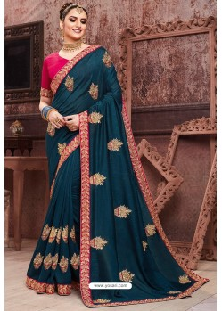 Navy Blue Soft Art Silk Part Wear Saree