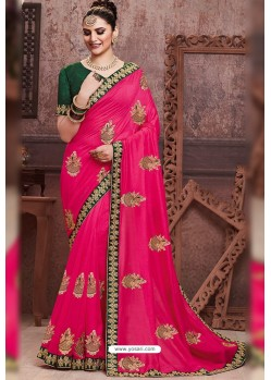 Rani Pink Soft Art Silk Part Wear Saree