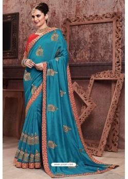 Blue Soft Art Silk Part Wear Saree