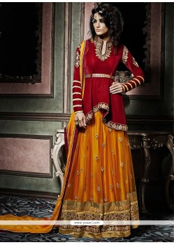 Exciting Mustard And Red Designer Palazzo Salwar Suit