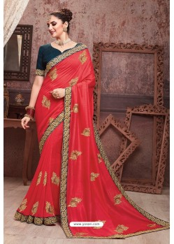 Crimson Soft Art Silk Part Wear Saree