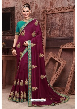 Wine Soft Art Silk Part Wear Saree