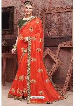 Orange Soft Art Silk Part Wear Saree