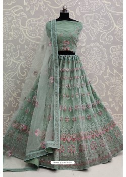 Grayish Green Net Thread Embroidered Designer Lehenga Choli