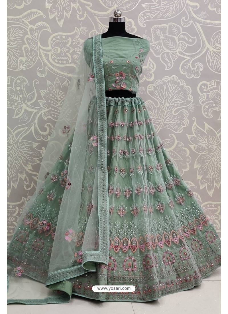 Grayish Green Net Thread Embroidered Designer Lehenga Choli