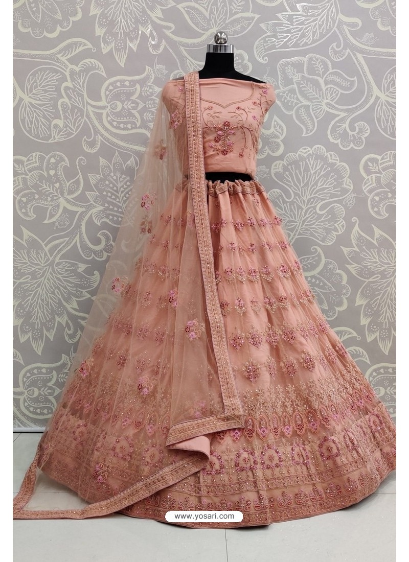 Peach Net Thread Embroidered Designer Lehenga Choli