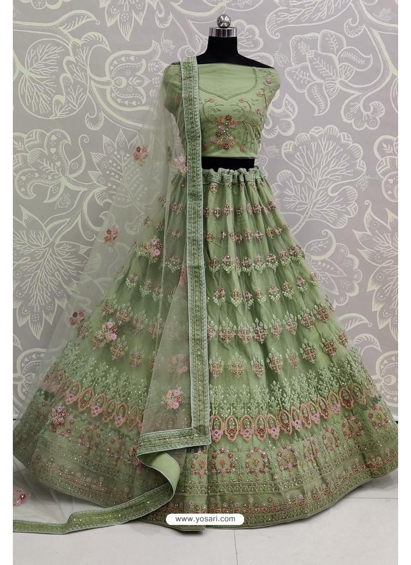 Green Net Thread Embroidered Designer Lehenga Choli