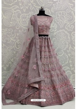 Mauve Net Thread Embroidered Designer Lehenga Choli