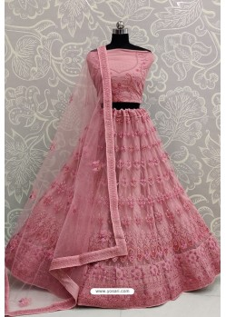 Light Pink Net Thread Embroidered Designer Lehenga Choli