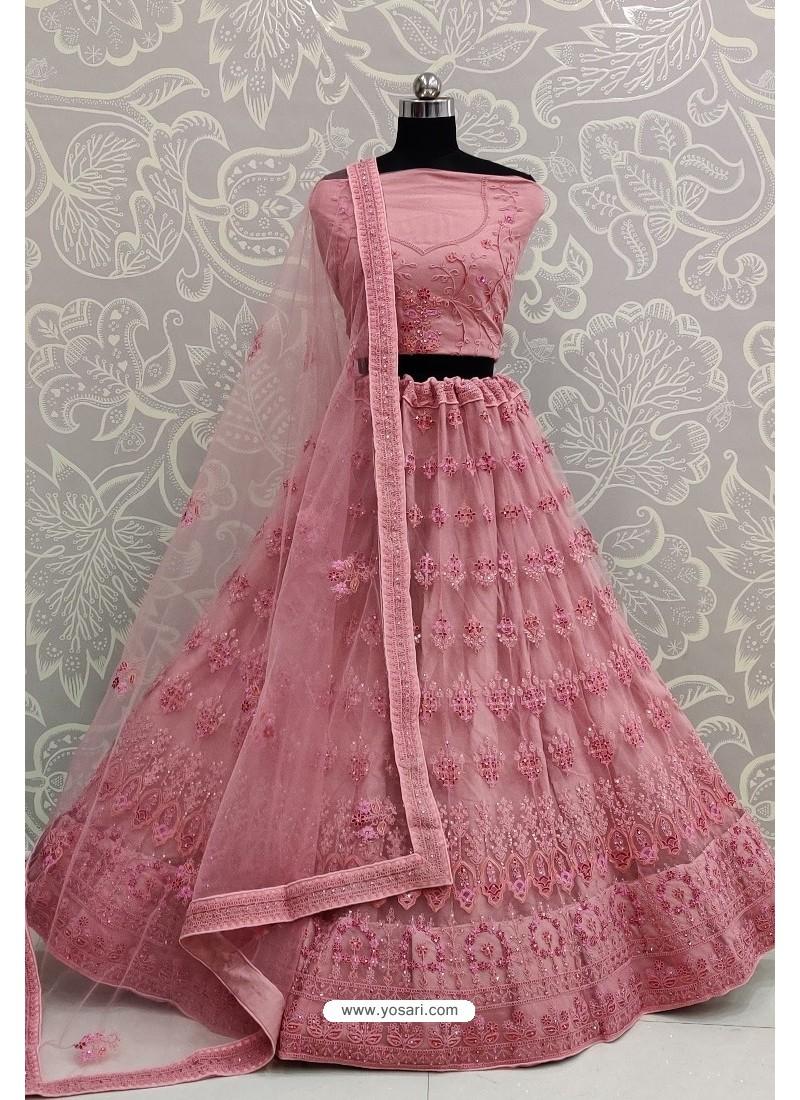 Light Pink Net Thread Embroidered Designer Lehenga Choli