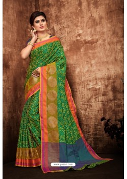 Forest Green Classic Designer Tanchui Art Silk Saree