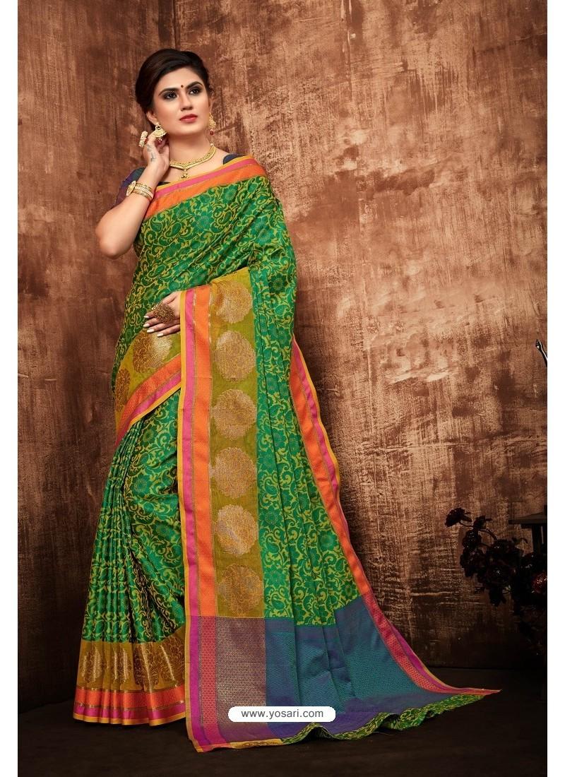 Forest Green Classic Designer Tanchui Art Silk Saree