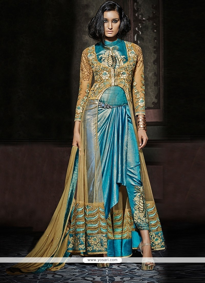 Voguish Turquoise Designer Salwar Kameez
