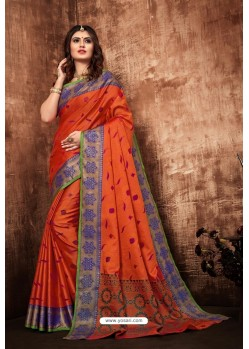 Tomato Red Classic Designer Tanchui Art Silk Saree