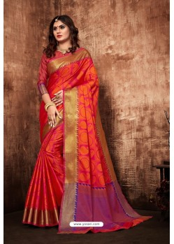 Rani And Red Classic Designer Tanchui Art Silk Saree