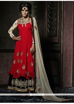 Mod Red Lace Work Fancy Fabric Designer Palazzo Salwar Suit