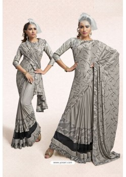 Silver Party Wear Lycra Embellished Saree
